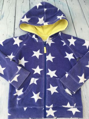 Mini Boden blue with white stars towelling zip up hoodie age 7-8